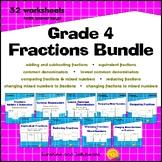 Fractions Bundle - 32 worksheets with keys - Grade 4 - CCSS
