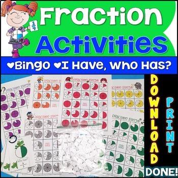 Fraction Activities {Fractions Bingo & Fractions I Have Who Has Game}