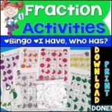 Fraction Activities {Fractions Bingo & I Have Who Has Game Fractions}