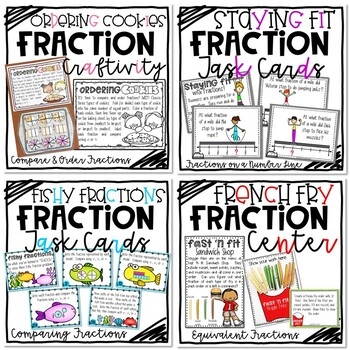 Fractions Bundle - Craftivity, Center, and Task Cards!