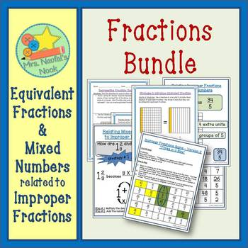 Fractions Activities Bundle - Mixed Numbers, Improper and Equivalent Fractions