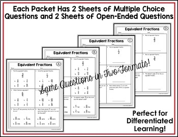 4th Grade Math Test Prep Review Fractions Bundle