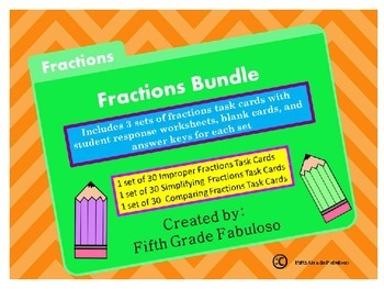 Fractions Bundle:Comparing, Simplifying, and Improper Fractions Task Card Bundle