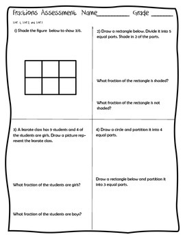 Fractions CCSS 3.NF.1, 3.NF.2, 3.NF.3 Assessment Test Pre Test Post Test