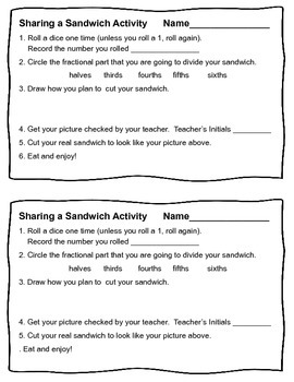 """Fractions CCSS 3.NF.1 Sharing a Sandwich Math """"Snack""""tivity"""