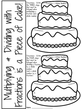 Fractions Cake Craftivity: Multiplying and Dividing with Fractions