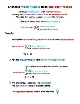 Fractions: Change a mixed number to an improper fraction v