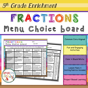 Fractions Enrichment Projects Choice Board - 5th Grade