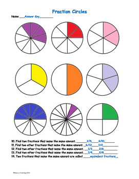 Fractions Circles - Color and Identify Equivalent Fractions - Differentiated