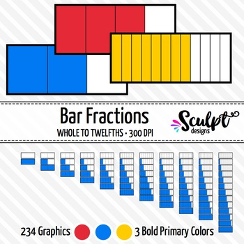Fractions Clip Art ~ 234 Bold Bar Fractions Clipart