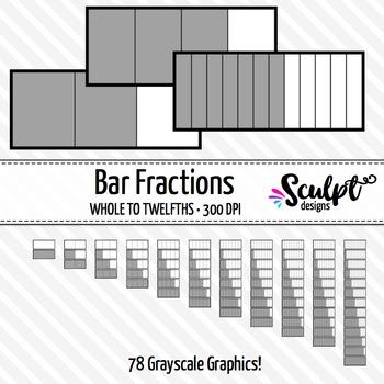 Fractions Clip Art ~ 78 Gray Bar Fractions Clipart