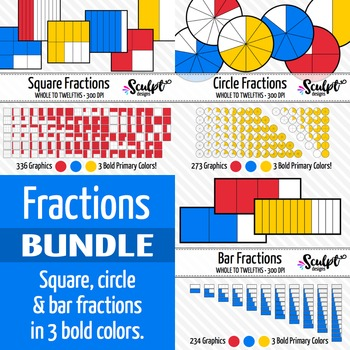 Fractions Clip Art Bundle ~ Bold Primary Colors