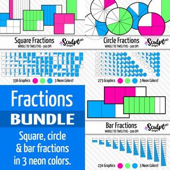 Fractions Clip Art Bundle ~ Neon Colors