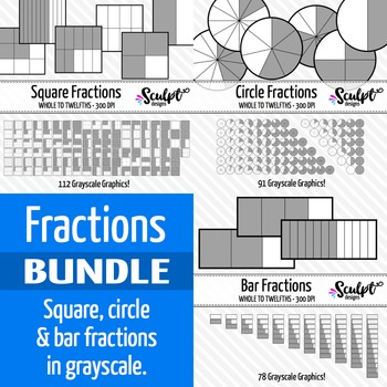 Fractions Clip Art Bundle ~ Gray