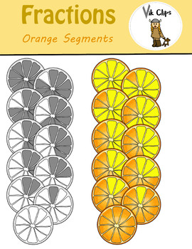 Fractions Clip Art Orange Segments