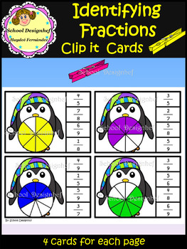 Fractions Clip Cards - Math Center - Identifying fractions(School Designhcf)