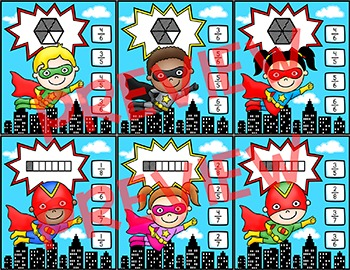 Fractions Clip Cards Math Center - Superhero Theme