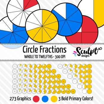 Fractions Clipart ~ 273 Circle Fractions Clip Art in Bold Primary Colors