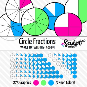 Fractions Clip Art ~ 273 Circle Neon Fractions