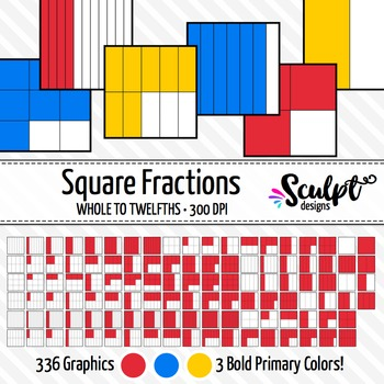 Fractions Clip Art ~ 336 Square Fractions in Bold Primary Colors