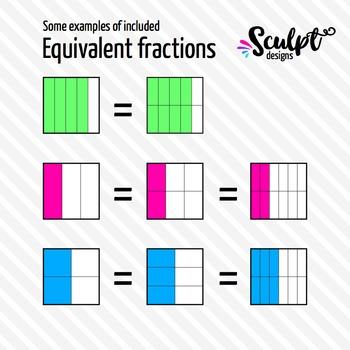 Fractions Clipart ~ 336 Square Neon Fractions Clip art