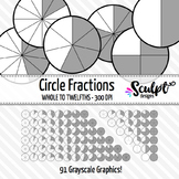 Fractions Clip Art ~ 91 Circle Gray Fractions