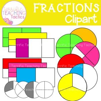 Fractions Clip Art (Whole, Halves, Thirds & Quarters)