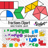 Fractions Clip Art ~ Various Shapes & Colors