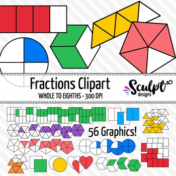 Fractions Clip Art ~ Various Shapes & Colors