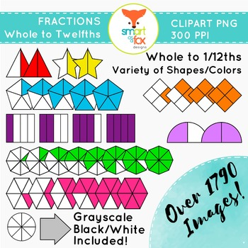Fractions Clipart Whole to Twelfths