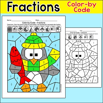 Winter Math Fractions - Penguin Differentiated Color by Nu