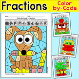 Color by Fractions School Pets Math Worksheets - Owl, Apple, Cat, Dog, Frog