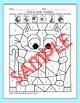 Color by Fractions School Pets Math Worksheets - Owl, Apple, Cat, Dog, Frog