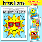 Summer Activities Color by Fractions Coloring Pages - End