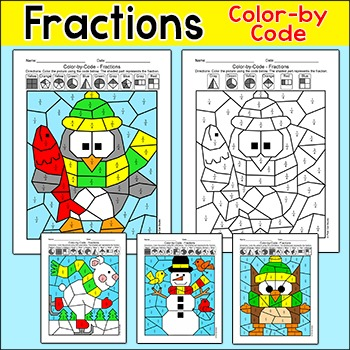 Winter Math Color by Fractions: Penguin, Snowman, Polar Bear, Owl