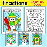 Winter Math Color by Fractions: Penguin, Snowman, Polar Bear, Owl