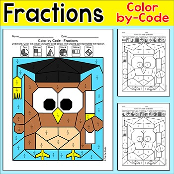 End of the Year Activities: Color by Fraction - Owl Graduate