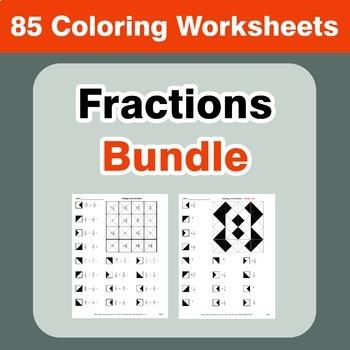 Fractions Coloring Worksheets Bundle
