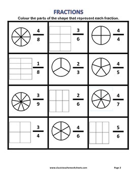 Fractions - Colour the Parts of the Shape that Represent each Fraction -Practice