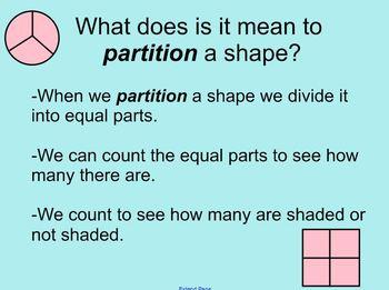 Fractions Common Core 2nd grade SmartBoard Lesson  CCM2G2-3