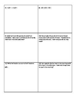Fractions - Common Core (Adding, Subtracting, Multi-Step 4th Grade)