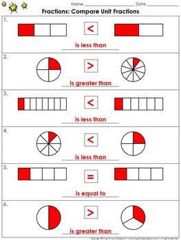 Fractions: Compare Unit Fractions Practice Sheets - King Virtue\u0027s Classroom