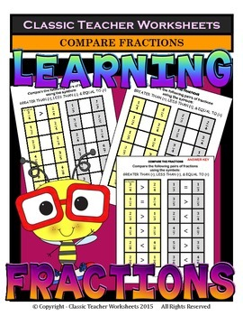 Fractions - Compare the Pairs of Fractions - Greater Than,