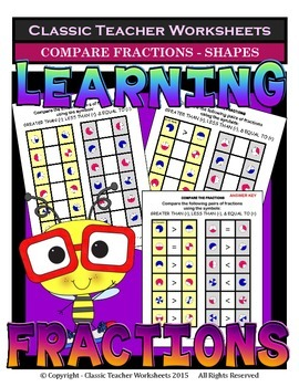 Fractions - Compare the Pairs of Fractions (Shapes)-Greater Than,Less Than,Equal