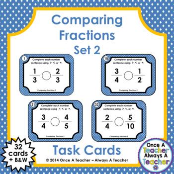 Fraction Task Cards - Comparing Fractions Set 2