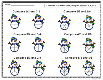 Comparing Fractions - Snowman/Winter Activities Freebie