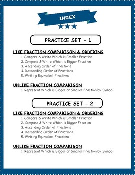Fractions Comparison & Ordering Worksheets for 5th Grade Math Curriculum