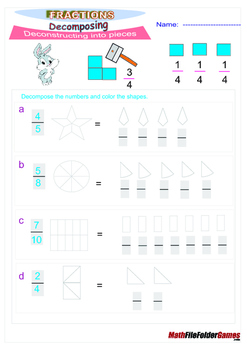 Fractions Composing Decomposing {Poster/Anchor, Cards & Worksheets}