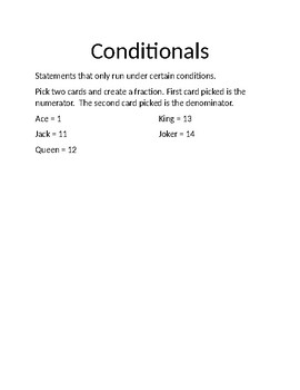Fractions Conditionals Game