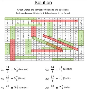 Fractions Word Search - Converting Improper Fractions to Mixed Numbers
